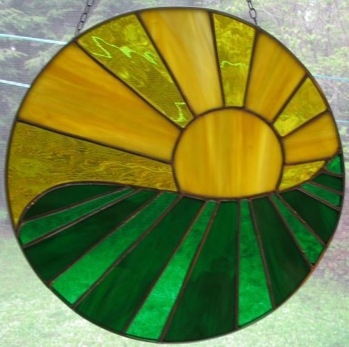 Item #026 Stained glass window panel
