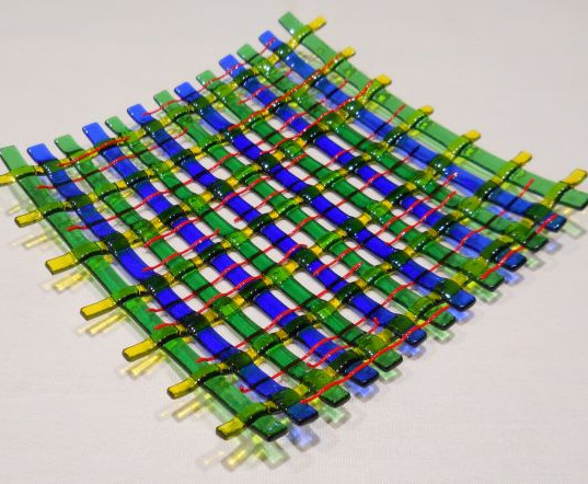 "Item #037 Fused glass ""basket weave"""
