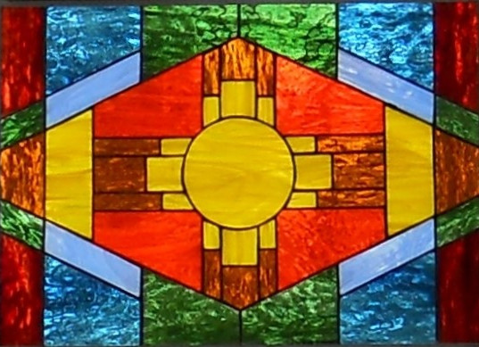 Item #022 Stained glass window panel
