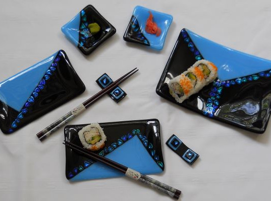Item #024 Fused glass sushi set