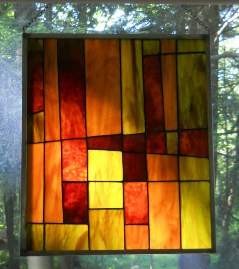 Item #034 Stained glass window panel