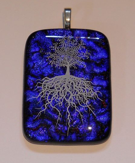 Item #001 Tree of life fused glass pendant
