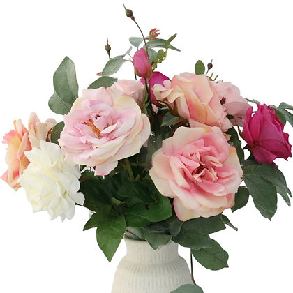 Fuchsia Pink Roses- Three Stems