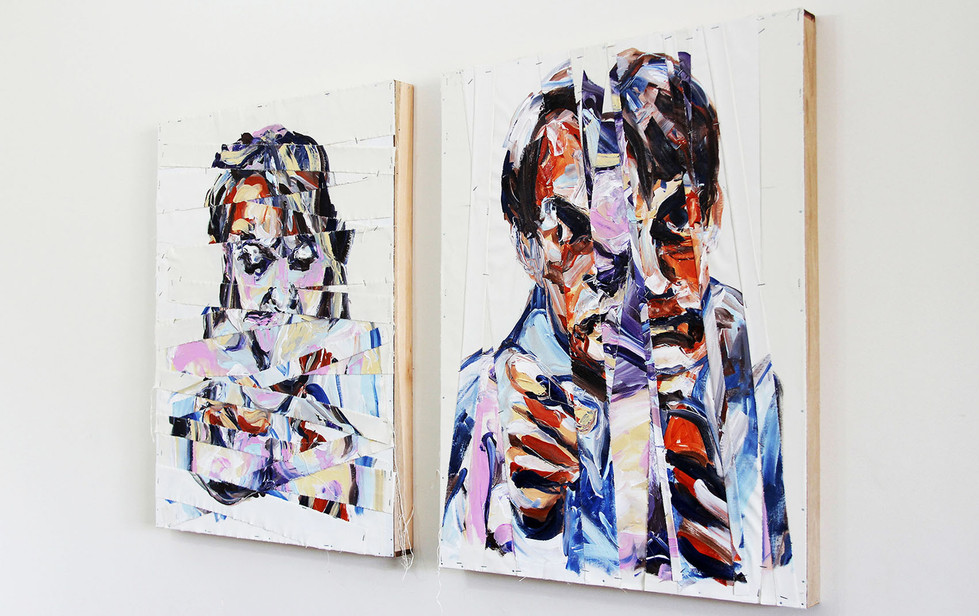 """""""Mulher (ou Culpada)"""" e """"Homem (ou Patriarca)"""", 2016 - Díptico (Perspectiva)"""