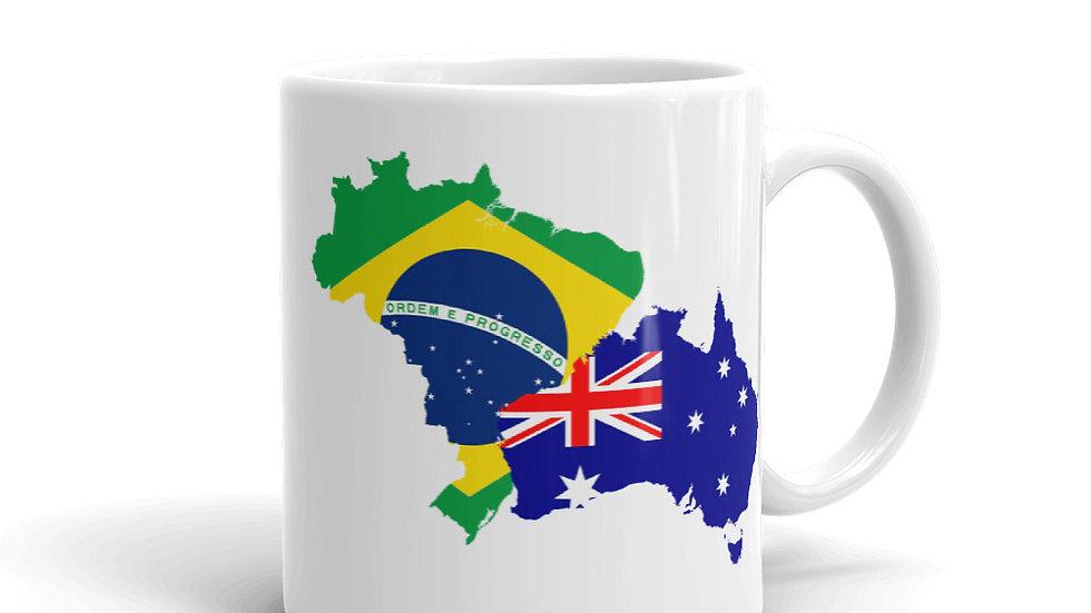 Caneca Fazer as Malas Bandeiras Brasil Australia