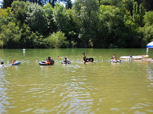 Kayaking and floating down Russian River from Summerland Cabn