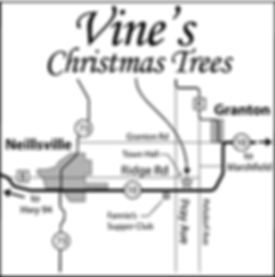 Map to Vine's Christmas Tree Farm
