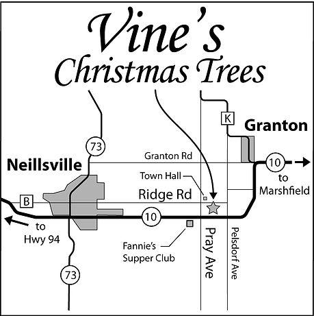 Map to Vine's Christmas Tree Farm