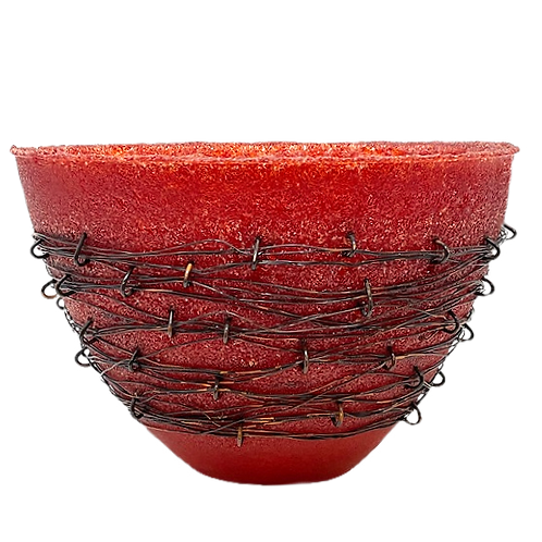 Red Glass Wrapped Vase