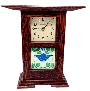 Wood Clock with Ceramic Tile