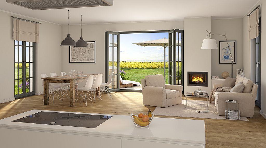 Wohnzimmer mit Kamin - Reetland
