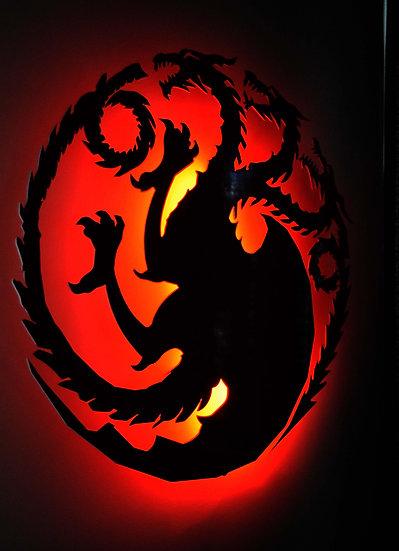 Targaryen Sigil - LED Backlit Floating Metal Wall Art
