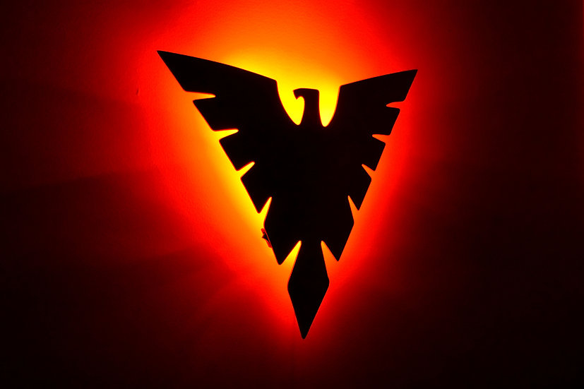 Phoenix LED Backlit Logo - Floating Metal Wall Art