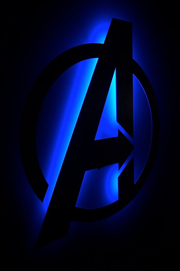 AVENGERS Logo - Back-Lit Floating Metal Wall Art