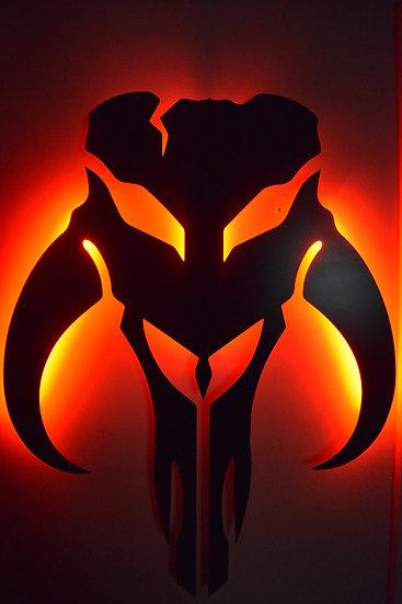 Mandalorian LED Backlit Logo - Floating Metal Wall Art