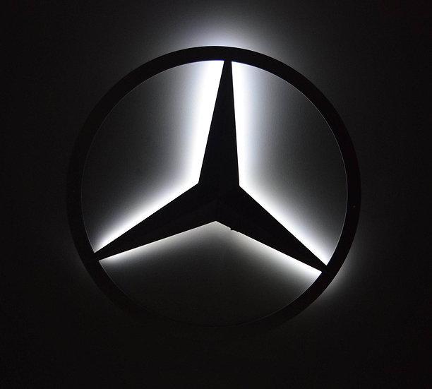 Mercedes Benz - LED Backllit Logo Floating Metal Wall Art