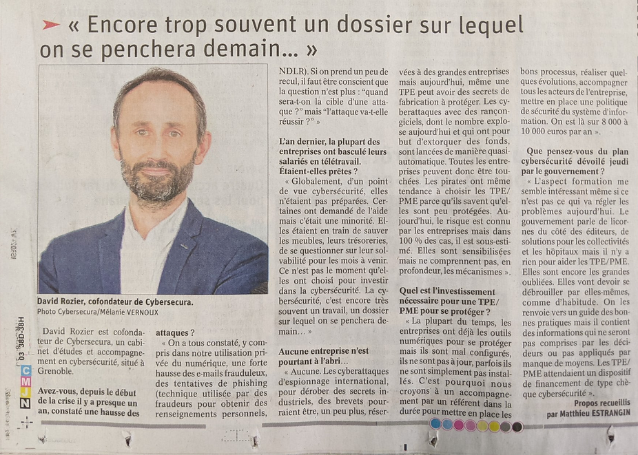 Dauphiné Libéré article : interview David Rozier, CyberSecura