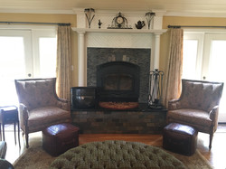 great room high-efficiency wood burning fireplace and mantle