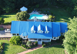 aerial of front view with pool in back