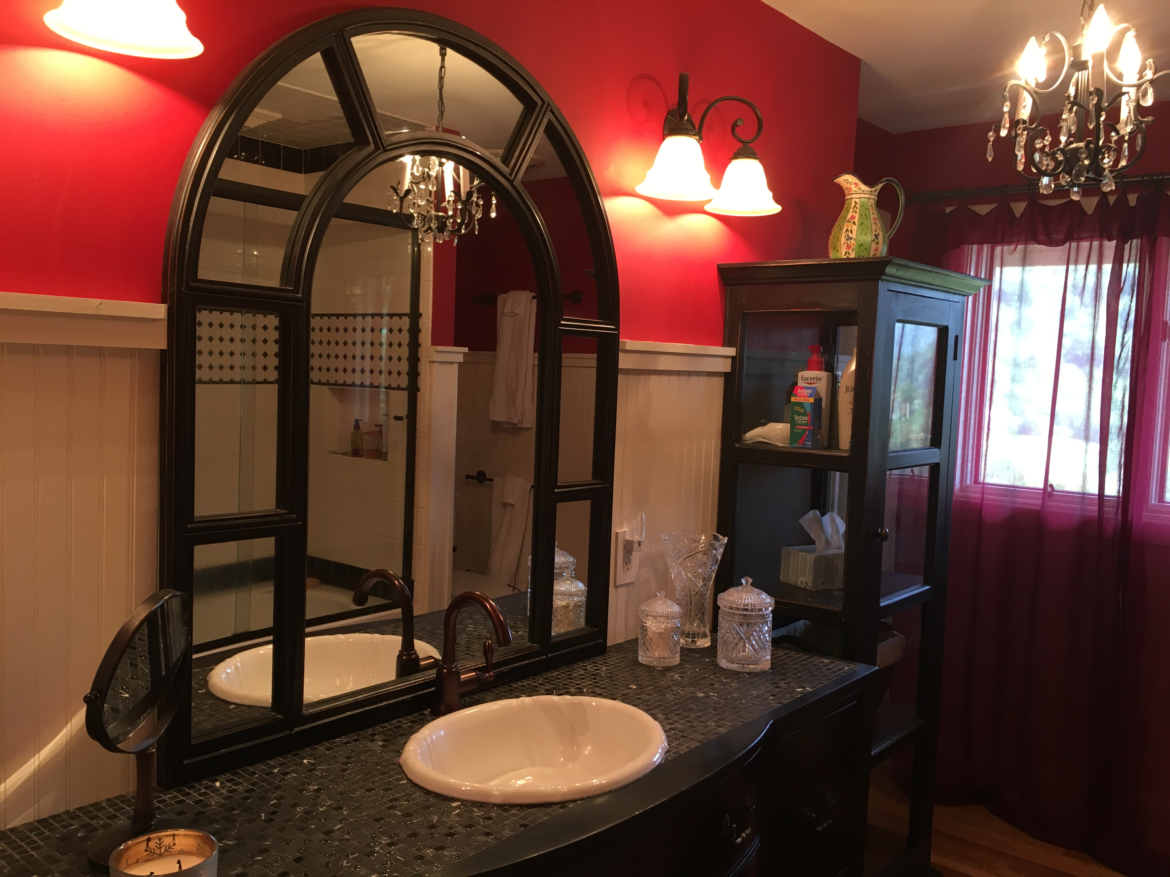 hall bathroom outfitted with antique elements