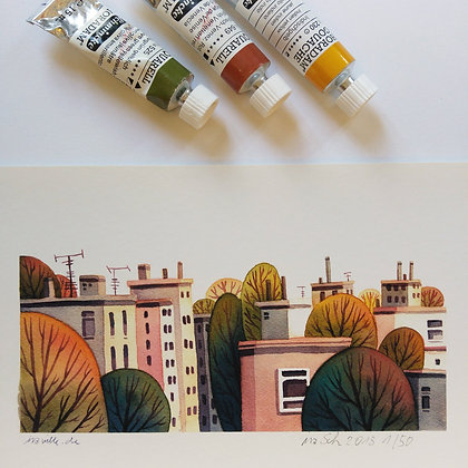 ROOFTOPS AND AUTUMN TREES