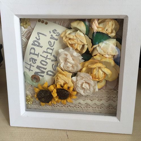 box frame that can be tailored to your requirement as possible gaps can be left as the back of frame may be opened to add your own mementos