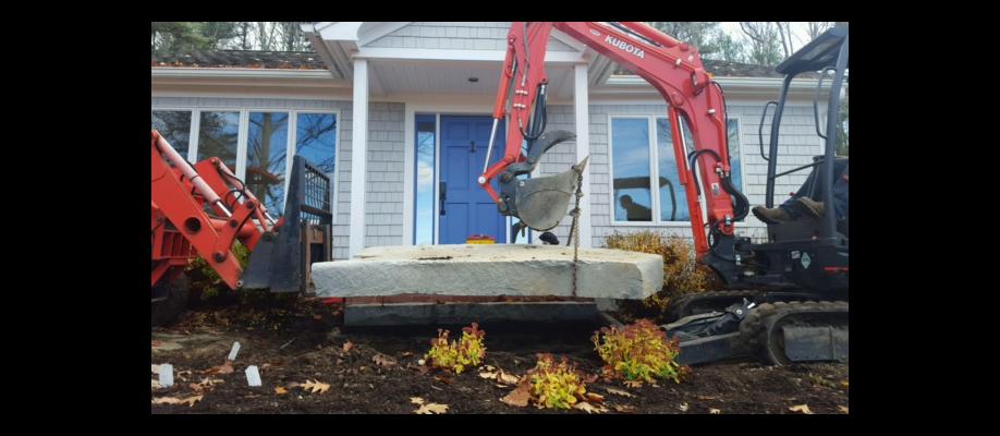 Installing Large Landing Stone on Cousins Island