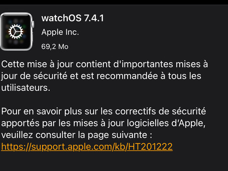 Apple déploie watchOS 7.4.1