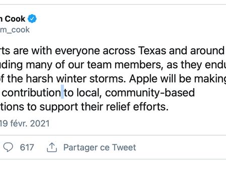 Apple fait un don pour soutenir les efforts de secours au Texas