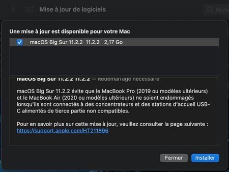 macOS Big Sur 11.2.2 est disponible (correctif station d'accueil USB-C non compatible)