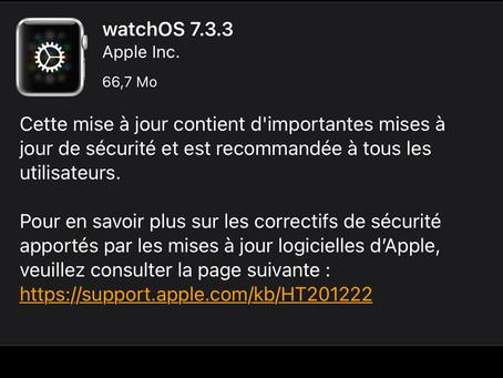 watchOS 7.3.3, avec des mises à jour de sécurité, est disponible