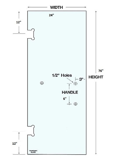 """SD2476H3 Shower Door 24""""x76"""" With 3 Holes Tempered"""