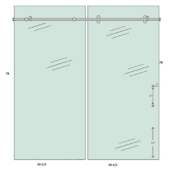 """SDSL6078H2 Sliding Shower Door Set 60""""x 78"""" With 2 Holes Tempered"""