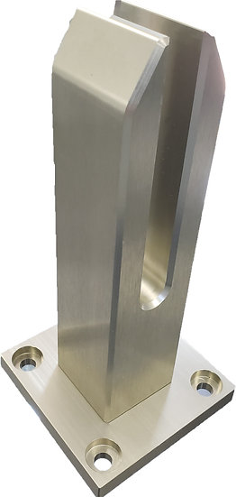 """ISQSPGALUBS  Brushed Aluminum 8"""" Square Surface Mount Spigot For 3/8""""-1/2"""" Glass"""