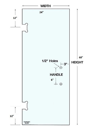 """SD2468H2 Shower Door 24""""x 68"""" With 2 Holes Tempered"""