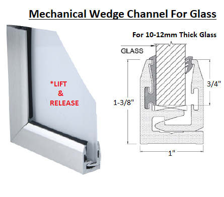 IGLPR33SA Satin Anodized Mechanical Wedge Channel 10ft For Glass 10-12mm