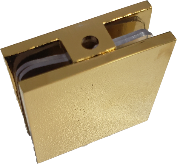 IGC111EDGP Gold Plated Square Wall To Glass Fixed Panel Clamp