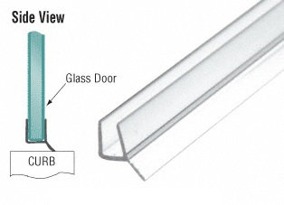 """IPS1 Clear PVC Seal  135 Degree and Wipe for 3/8"""" Glass"""