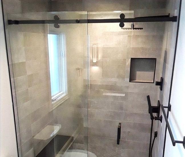 ISLSYS11BL Matte Black Edge Shower Sliding System