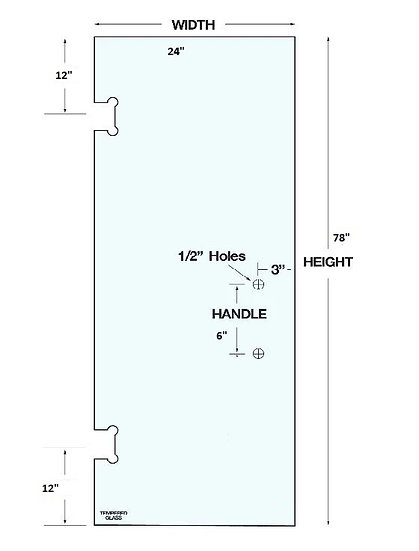 """SD2478H2 Shower Door 24""""x 78"""" With 2 Holes Tempered"""
