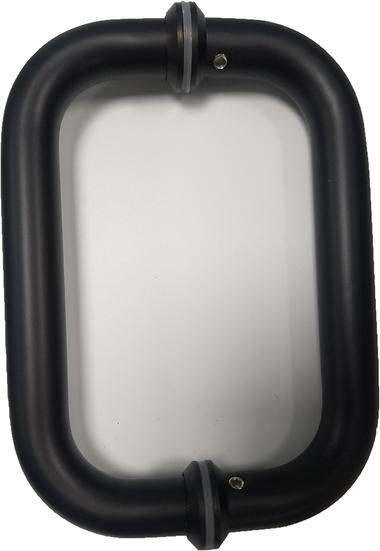 """IGH8X8DCMBM Matte Black Square Shower Door D-Handle CTC 8"""""""