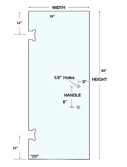 """SD2684H2 Shower Door 26""""x 84"""" With 2 Holes Tempered"""