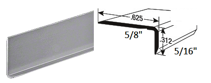 "ILCH1212SA12 Satin Anodized Mirror L-Bar Extrusion 144"" Length"