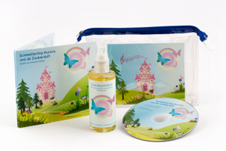 Märchen-CD mit Bio Aromaspray GEBORGENSEIN für Kinder