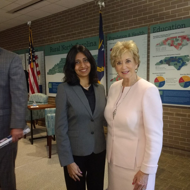 With Linda McMahon, the official administrator in the Trump Administration.