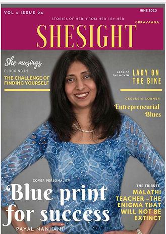 Payal Nanjiani on Shesight magazine