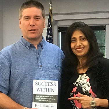 Mayor TJ Cawley inaugurates Payal Nanjiani's book.