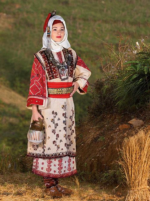 """Постер """"Празнична лятна носия на млада жена от с. Стрезимировци, Трънско"""""""