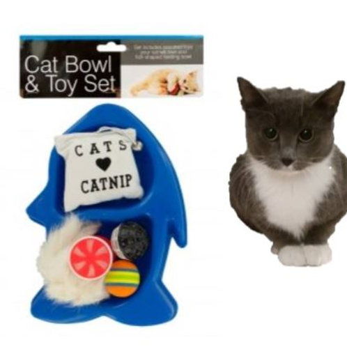 Cat Dish with 5 toys ~ great gift