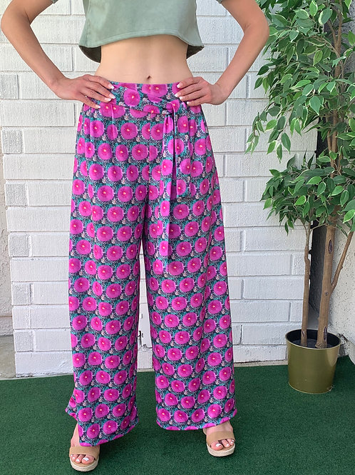 Casual Palazzo Pants With Belt & Pockets